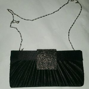 Handbags - Black and Silver Formal Crossbody Clutch